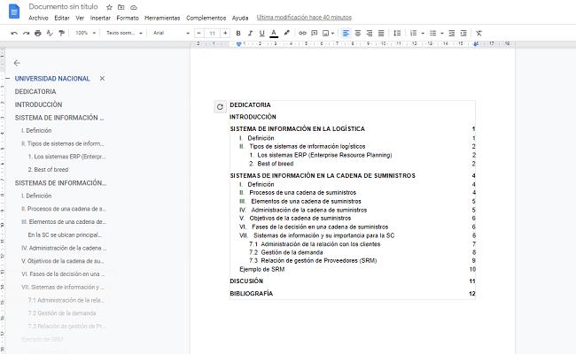 Cómo insertar índice en Google Docs